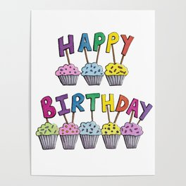 Happy Birthday Cupcakes Poster