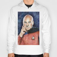 picard Hoodies featuring Captain Picard by Olechka