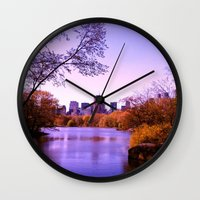 central park Wall Clocks featuring Central Park by Anna Andretta