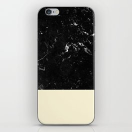 Light Blush Yellow Meets Black Marble #1 #decor #art #society6 iPhone Skin