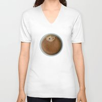 coffe V-neck T-shirts featuring Coffe Time by JAY'S PICTURES