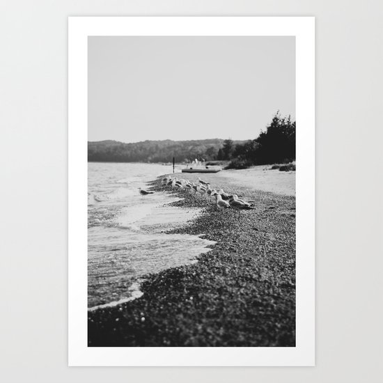 Summer Beach Black and White Art Print