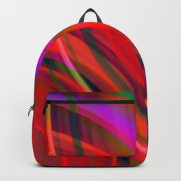Cross curved ovals with a crisp purple accent and all the colors of the rainbow.  Backpack