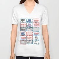 stickers V-neck T-shirts featuring STREET STICKERS by John Jr Badd Habits