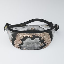 Gray Black White Agate with Gold Glitter on Black #1 #gem #decor #art #society6 Fanny Pack