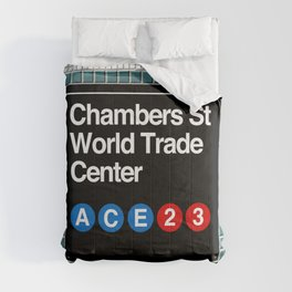 subway world trade center sign Comforters