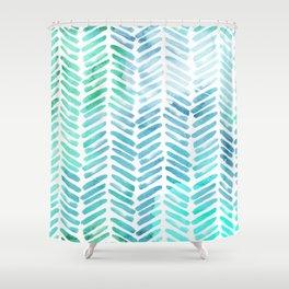 Handpainted Chevron Pattern   Light Green And Aqua   Stripes #Society6  Shower Curtain