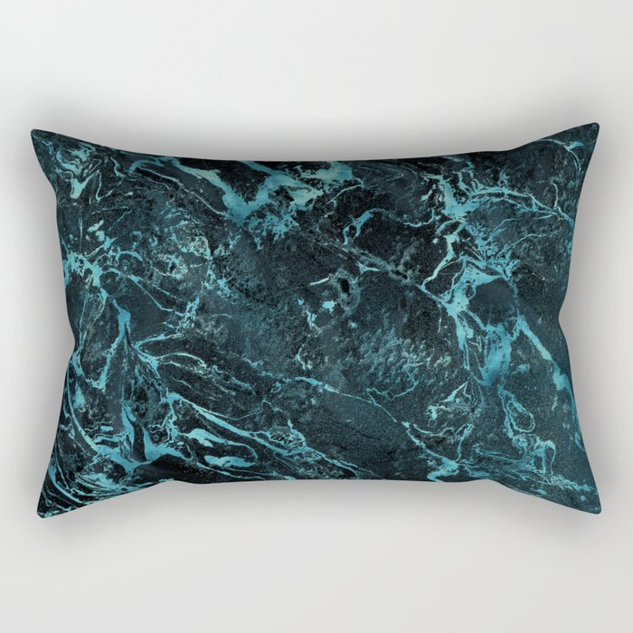 Black & Teal Color Marble Rectangular Pillow