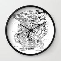 brooklyn Wall Clocks featuring Brooklyn Map by Claire Lordon