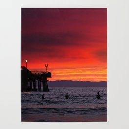 Surfers watching Sunset Poster