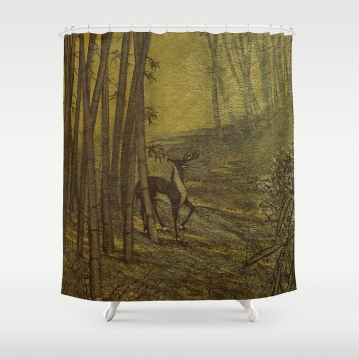 Bamboo Forest in Gold and Burnt Umber Shower Curtain
