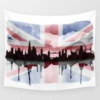 british flag Wall Tapestries featuring Great British Flag London Skyline 2 by Paint the Moment