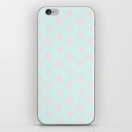 Merry christmas- pink snowflakes and snow on aqua background I iPhone Skin