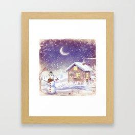 Christmas scene with snowman and house Framed Art Print