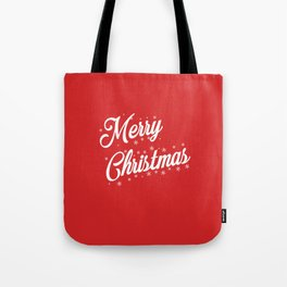Merry Christmas with Snow Flakes on Red Background Tote Bag