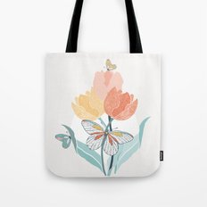 Butterflies and Tulips I Tote Bag