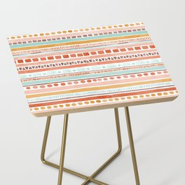 Boho Stripes - Watercolour pattern in rusts, turquoise & mustard. Nursery print Side Table