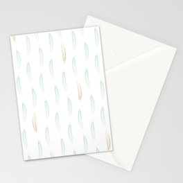 Feathers - Green & Gold #442 Stationery Cards