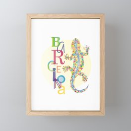 Barcelona City Lizard Framed Mini Art Print