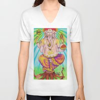 ganesha V-neck T-shirts featuring Ganesha by Lioz