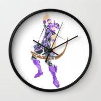 clint barton Wall Clocks featuring Clint Barton by Tegan New