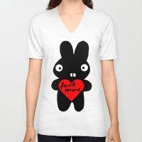 bunny V-neck T-shirts featuring Bunny by Sylwia Borkowska