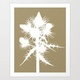 Thistle in Acorn Brown - Original Floral Botanical Papercut Design Art Print