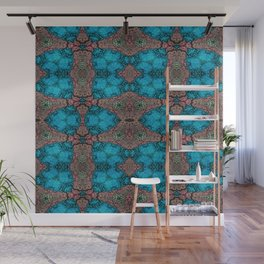 Brown and Blue Kaleidoscope Cells Wall Mural