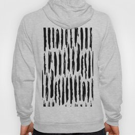 Vertical Dash Black and White Paint Stripes Hoody