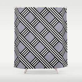 Pantone Lilac Gray, Black & White Diagonal Stripes Lattice Pattern Shower Curtain
