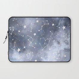 Modern black grey white nebula watercolor hearts constellation stars universe pattern Laptop Sleeve