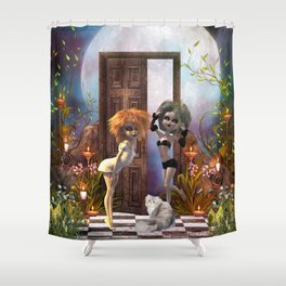 Cute dark fairys with cat Shower Curtain