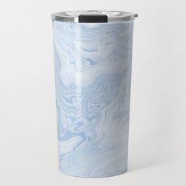 Marble suminagashi pastel blue minimal marbling spilled ink japanese decor Travel Mug