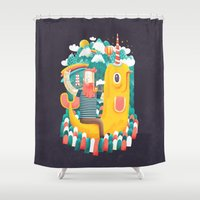 unicorn Shower Curtains featuring Unicorn by Seaside Spirit