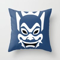 zuko Throw Pillows featuring Blue Spirit by Outspire