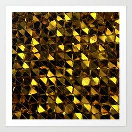 Golden Polygons 02 Art Print