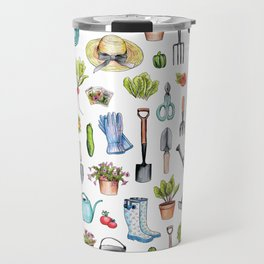 Garden Gear - Spring Gardening Pattern w/ Garden Tools & Supplies Travel Mug