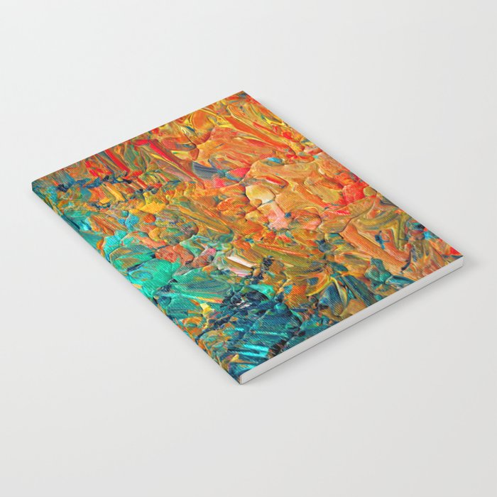 ETERNAL TIDE 2 Rainbow Ombre Ocean Waves Abstract Acrylic Painting Summer Colorful Beach Blue Orange Notebook