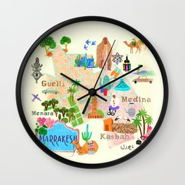 Illustrated map of Marrakech Wall Clock