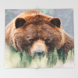 Grizzly Wood Throw Blanket
