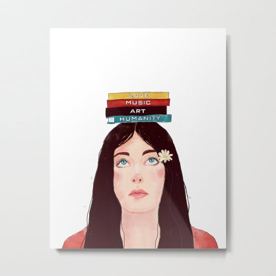 Book girl Metal Print