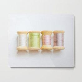 Pastel Spools of Vintage Thread Metal Print