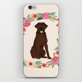 chocolate lab floral wreath flowers dog breed gifts labrador retriever iPhone Skin