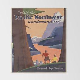 Vintage poster - Pacific Northwest Throw Blanket