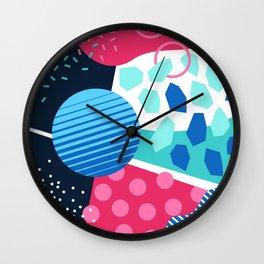 Memphis pastel blue green pink Wall Clock