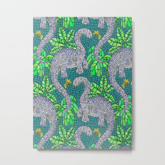Mosaic Dinosaurs and Hummingbirds Metal Print