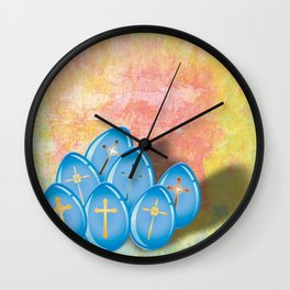 Blue eggs and crosses on pastel textured background Wall Clock
