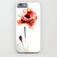 watercolor poppy Slim Case iPhone 6s