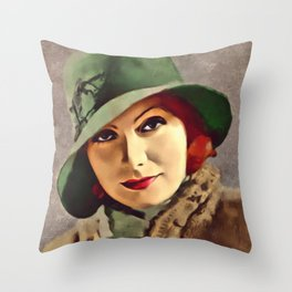 Greta Garbo, Hollywood Legend Throw Pillow