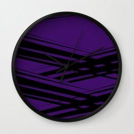 Black Diagonal Crossing On  Purple Wall Clock